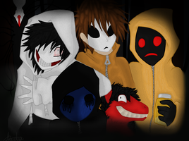 Creepypasta Gang :COLORED ADDITION: by InkQueenPilus