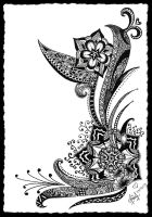 Black and White Flora-Tattoo Design by MilkySweets