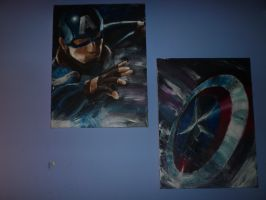 Captain America dual painting by lonedragon155