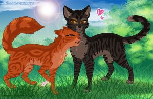 Squirrelflight and Brambleclaw by RukiFox