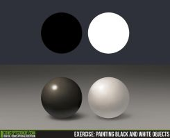 Exercise 11 - Shading Black and White Objects by CGCookie
