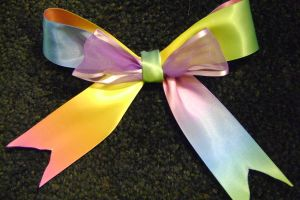 Gay Pride Hair Bow by DamnWhiteRabbit
