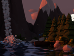 Low Poly scene: Lake at evening by tokfrans