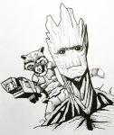 Rocket Raccoon and Groot Sketch by MoonIllustrator