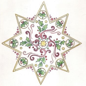 Ribbons and Holly Star by Spiralpathdesigns