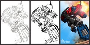 Optimus Prime (G1) Sketch to Render Process by SDMdigital