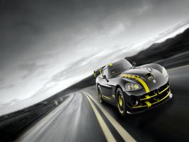 Yellow Dodge Viper Road by SilverThornz