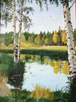White birch tree on the pond by designer-artist