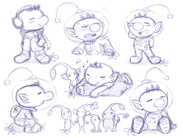 Olimar and Pikmin sketches by Rainmaker113