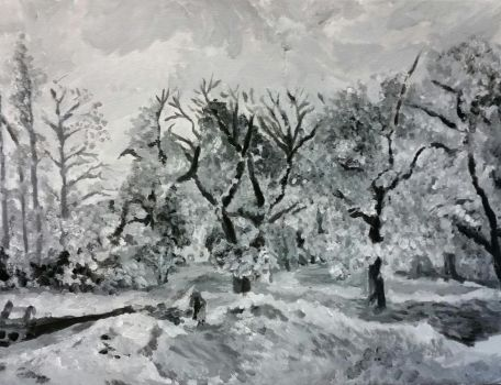 Camille Pissarro Black and White by kwardart