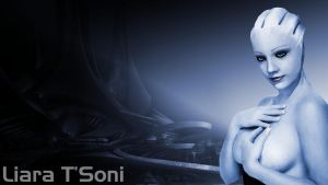 Liara T'Soni: Smokey Eyes Wallpaper by RenderEffect-Dan