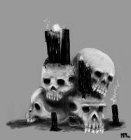 Pile of skulls by Ferkinason