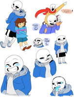 Undertale Doodles (Mainly of Sans) by RhinestoneArts