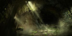 Speedpainting of a cave with plants in there by Gycinn