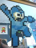 8-bit MegaMan Glass Tile by andresagbisit