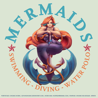 COMMISSION: Mermaids - Swimming Club Logo by SoyUnGnomo