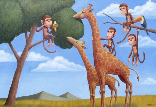 Monkeys,Giraffes,and a Toucan by melocopter