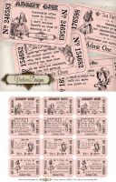 Pink Alice in Wonderland Tea Party Tickets by VectoriaDesigns