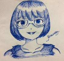 Irma Sketch with blue ink by KatanaBerry