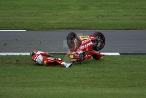 Alvaro Bautista crashes his 250 @ Donnington Park by Petrol-Head-Images