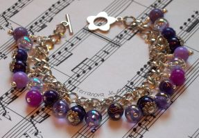 Pink purple fuchsia lilac and silver bracelet by TerraNovaJewels