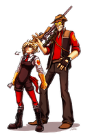 TF2 - The Transporter and RED Sniper by yuikami-da