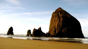 Haystack Rock in the Sun by skipsmagee
