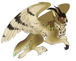 Coyote x Eurasian Eagle Owl Gryphon by Kingfisher-Gryphon