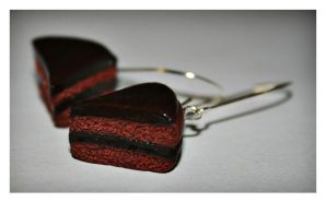 Rich Chocolate Cake Earrings by bettenoir87