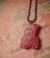 purple gummie bear pendant by leggsXisXawsome