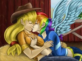 Rainbow and apples by darkdancing-blades