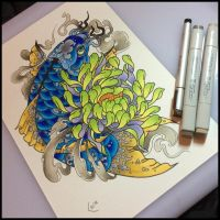 Tattoo design - koi and chrysanthemum by Xenija88