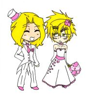Gift Art - Hetalia - FrUK Wedding Chibis by TheGoodDoktor