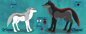 -Dimoni and Yatona- rough ref sheet new by Ladyhorse