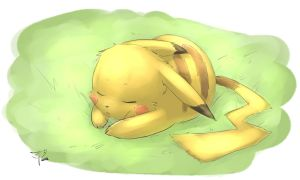 sleeping Pikachu by crimson-nemesis