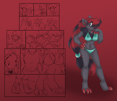 Zoroark Anthro TF TG Sketches by AkuOreo