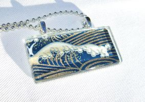 Japanese wave glass pendant 2 by inchworm