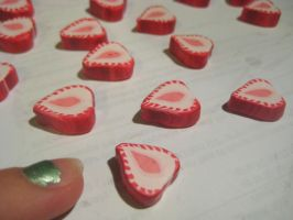 Strawberry Slices, clay caning by sing2mi