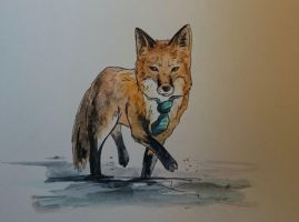 Fox in tie by BecciES