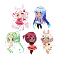 Cell shaded chibis by Mikatsune