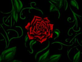 A Red Rose -mouse painting by Gizmodian