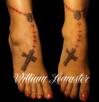 Rosary on ankle - Tattoo by SmilinPirateTattoo