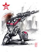 Mass Effect OC Red N7 Marine Sumie style by MyCKs
