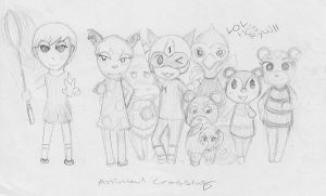 Sketch: ACNL Mayor Sam and Friends by LanceTheTurtle