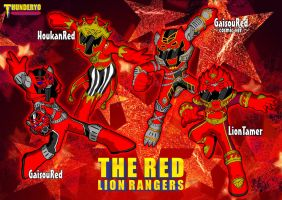 THE RED LION RANGERS chibi ver. by thunderyo