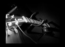 guitar in black and white agai by body-language
