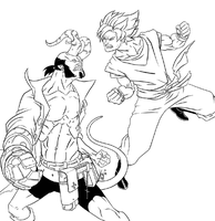 goku vs hellboy lineart by kajinman