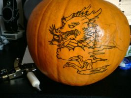 Tattoo practice on a pumpkin by Unmei-Wo-Hayamete