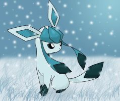 Glaceon out in the snow by Bluekiss131