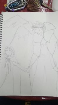 Work Sketch : Mother and Daughter Viking by zarabethedraws